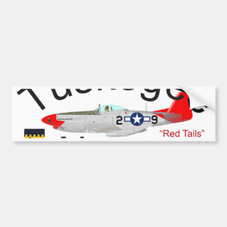 Tuskegee Airman P-51 Red Tails Mustang Bumper Sticker