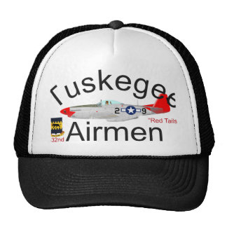 Tuskegee Airman P-51 Red Tails Mustang Trucker Hats