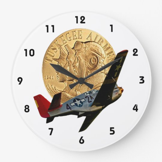 Tuskegee Metal of Honour/Red Tail Plane Large Clock