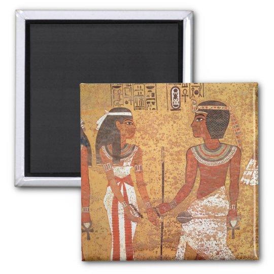 Tutankhamun  and his wife, Ankhesenamun Square Magnet