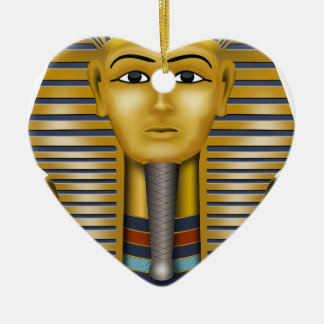 Tutankhamun Egyptian Mask Ceramic Heart Decoration