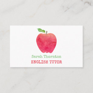 Tutoring Watercolor Red Apple Teacher Tutor Business Card