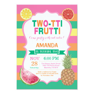 2nd birthday party invitations announcements zazzle tutti frutti birthday party invitation 2nd bday filmwisefo Images