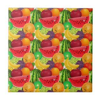 Tutti Frutti Bright Watermelons Kiwi Bananas Fruit Small Square Tile