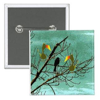 Tutu and black bird 15 cm square badge