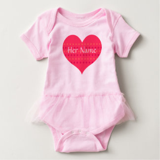 Tutu Baby Bodysuit with Pink Heart to Personalize