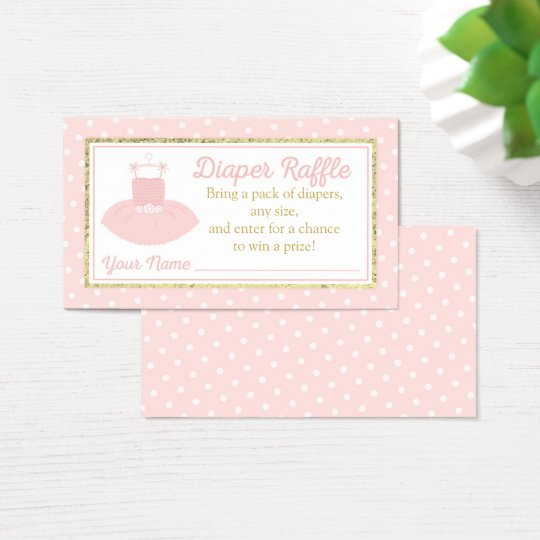 Tutu Baby Shower Diaper Raffle Ticket - Pink Gold