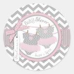 Tutu & Chevron Print Twin Girls Baby Shower Round Stickers