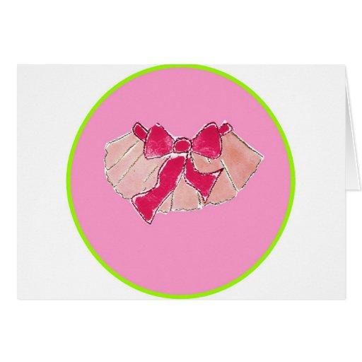 tutu circle pink green greeting card