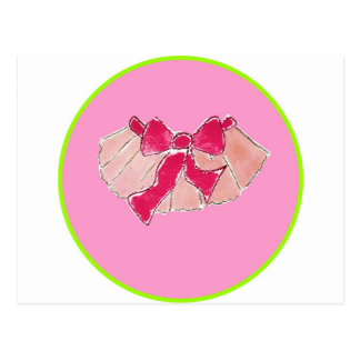tutu circle pink green postcard