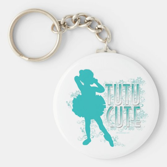 TuTu Cute (Aqua) Basic Round Button Key Ring