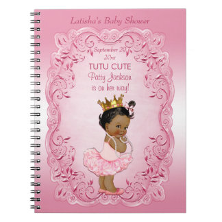 Tutu Cute Ethnic Princess Baby Shower Guestbook Spiral Notebook