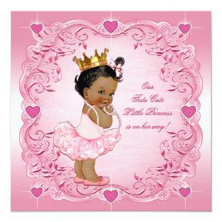 Tutu Cute Ethnic Princess Love Hearts Baby Shower Card