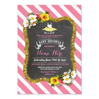 Tutu Cute Girl Rose Pink Ballet Baby Shower Invite