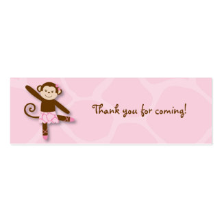 Tutu Jungle Monkey Goodie Bag Tags Pack Of Skinny Business Cards