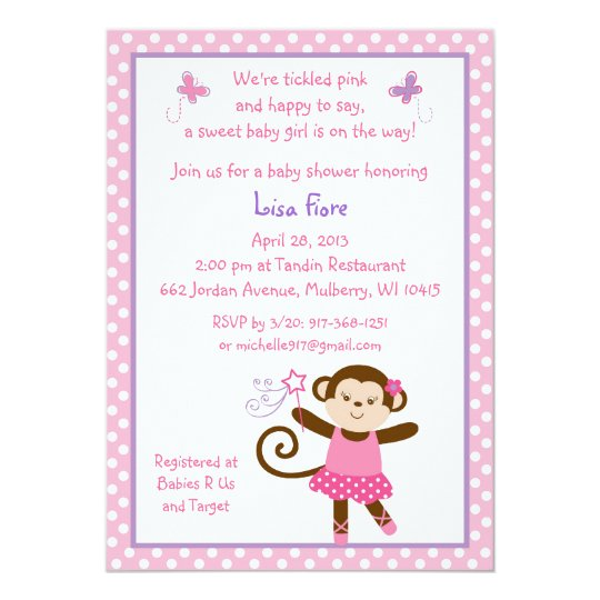 Tutu Monkey Ballerina Baby Shower Invitations