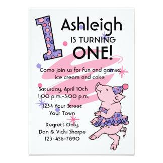 Tutu Piggy 1st Birthday Custom Invitations