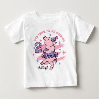 Tutu Piggy 2nd Birthday Custom Baby T-Shirt