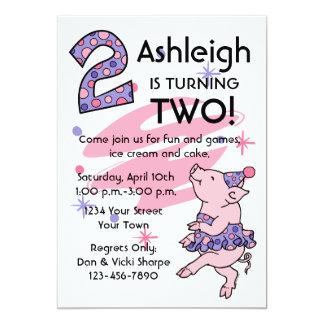 Tutu Piggy 2nd Birthday Custom Invitations