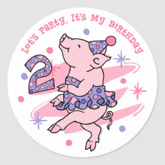 Tutu Piggy 2nd Birthday Stickers