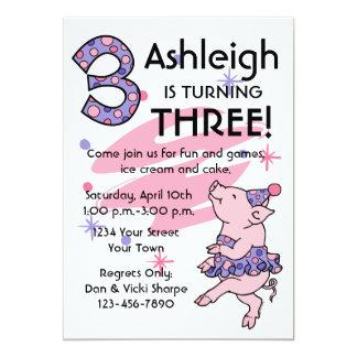 Tutu Piggy 3rd Birthday Custom Invitations