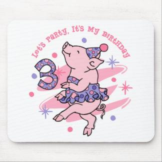 Tutu Piggy 3rd Birthday Mouse Pads
