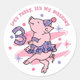 Tutu Piggy 3rd Birthday Round Sticker