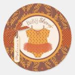 Tutu Polka Dot Jumper and Autumn Damask Print Round Sticker