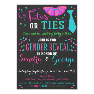 Tutus or Ties Gender Reveal Chalkboard Boy or Girl 13 Cm X 18 Cm Invitation Card
