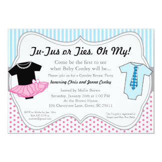 TuTus Ties, Gender Reveal Baby Shower Invitation