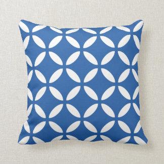 Tuva Pattern Cobalt Blue Geometric Throw Pillow