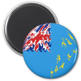 Tuvalu Gnarly Flag 6 Cm Round Magnet