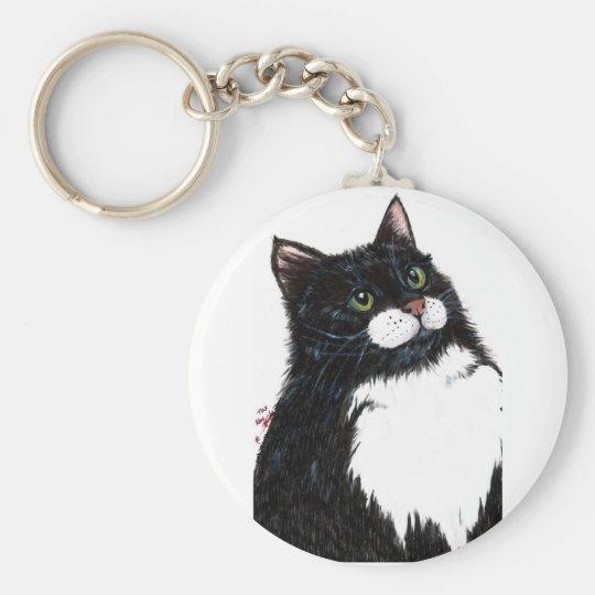 tux black cat basic round button key ring