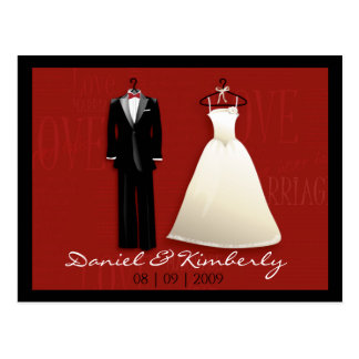 Tux & Gown Save the Date Postcard