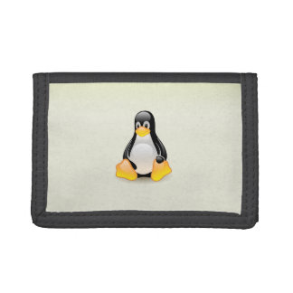 Tux with a white background tri-fold wallets
