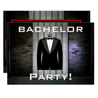 Tuxedo and Brick Wall Bachelor Party 13 Cm X 18 Cm Invitation Card