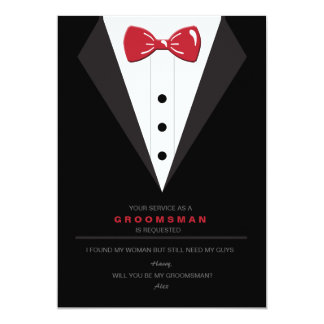 Tuxedo and Red Bow Tie Groomsman Request Card