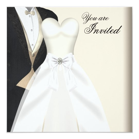 Tuxedo Ball Gown Black Tie Party Invitations Zazzlecouk