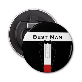 Tuxedo Best Man Customisable Bottle Opener Magnet