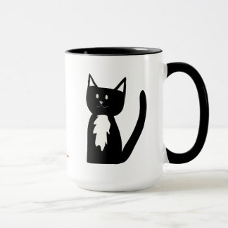 Tuxedo Black and White Cat and Ball of Yarn Mug