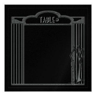 Tuxedo Black on Silver Table Numbers Custom Invite