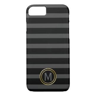 Tuxedo Black Tie & Charcoal Grey Stripe Monogram iPhone 8/7 Case