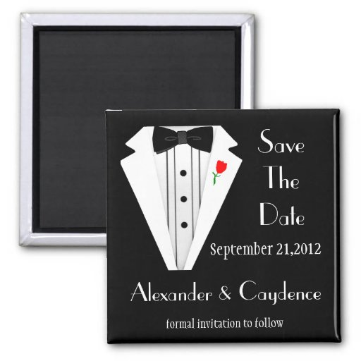 Tuxedo-Black Tie Save The Date Fridge Magnets
