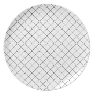 Tuxedo Black & White Geometric Pattern Pt78 Plate