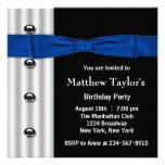 Tuxedo Bow Tie Mens Blue Black Birthday Party Personalised Invitation