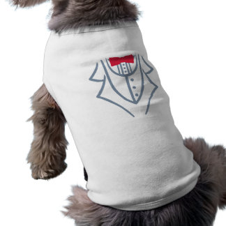 Tuxedo bow tie sleeveless dog shirt