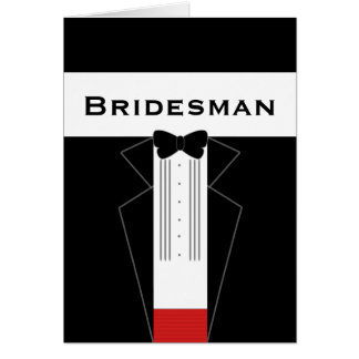 Tuxedo Bridesman Request Card