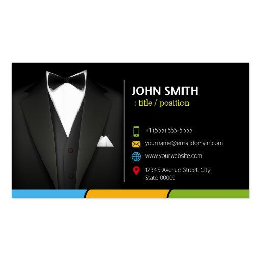 Tuxedo Businessman Suit - Stylish Dark Colorful Business Card Templates