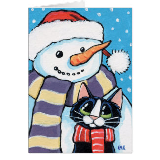 Tuxedo Cat and Carrot Nose Snowman Painting Card