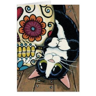 Tuxedo Cat and Sugar Skull Painting Greeting Card